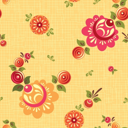 Decorative seamless foral pattern folk style Vector