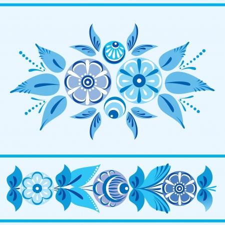 Folk floral ornamental border in blue Stock Vector - 17410792