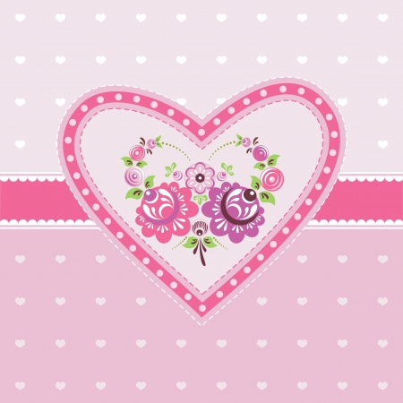 Pink floral card with heart and flowers Stock Vector - 17410794