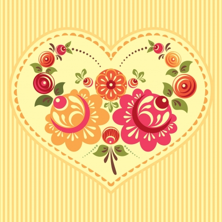 Floral card with flowers and heart Vector