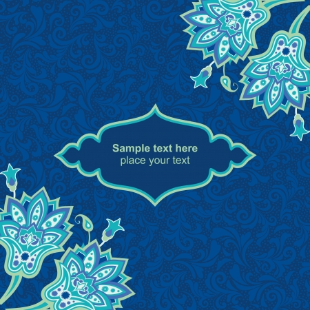 Blue floral card template Vector
