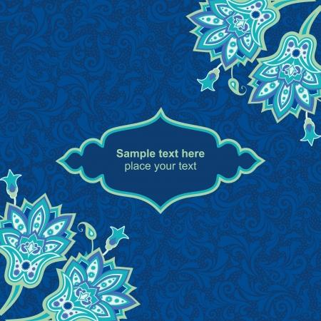 blue carpet: Blue floral card template