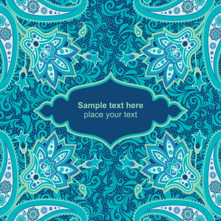 Blue ornamental floral background card template Vector
