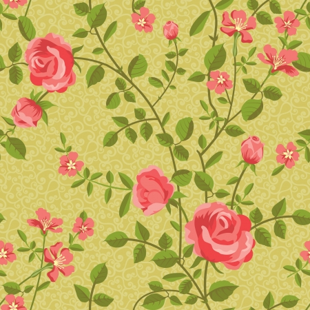 Floral seamless pattern of blooming roses Stock Vector - 17773682