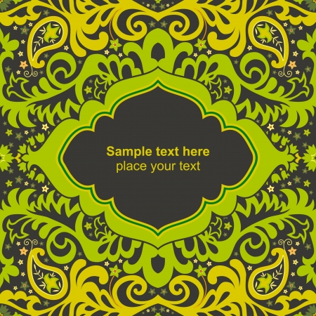 Green ornamental floral card Stock Vector - 17773680