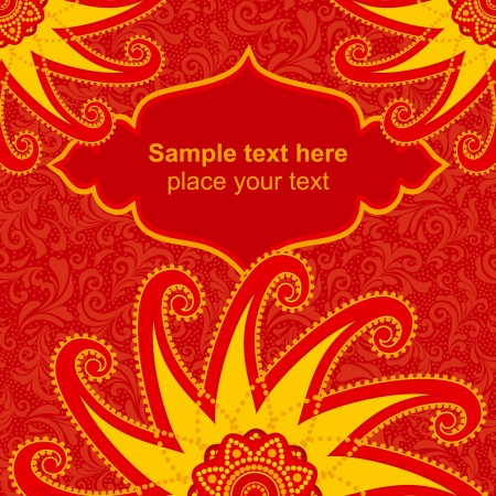 Red ornamental invitation card template for ethnic style design Vector