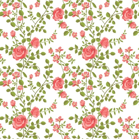 rose stem: Seamless pattern of blooming roses