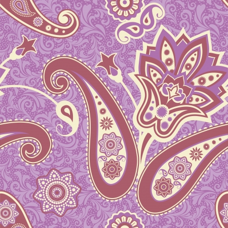 Vintage paisley ornamental indian seamless pattern Vector