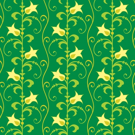 Floral background seamless wallpaper in green Vector