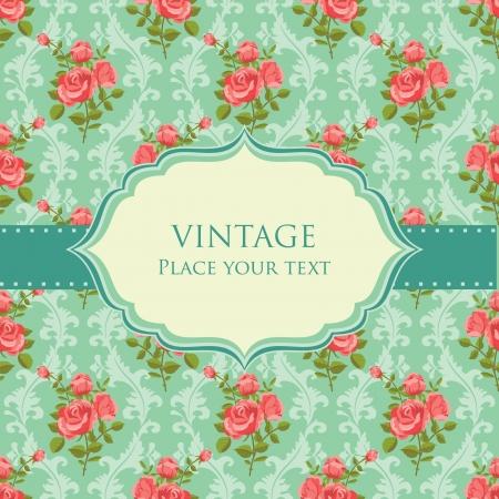 love wallpaper: Invitaci�n floral retro tarjeta trama rosas en flor
