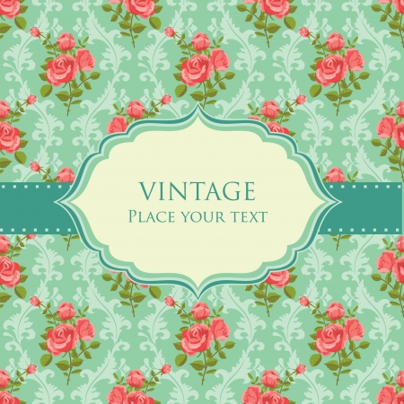 vintage wallpaper: Invitation floral retro card frame blooming roses