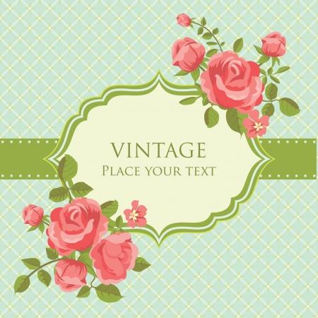 Romantische uitnodigingskaart met bloeiende rozen retro stijl Stock Illustratie