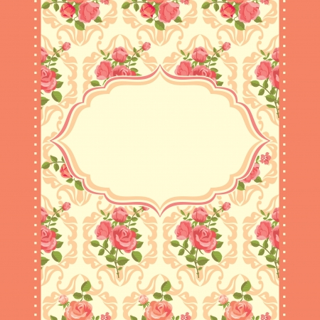 Invitation floral retro card frame blooming roses