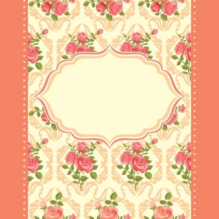 Invitation florale rétro carte de cadre de roses floraison Vecteurs