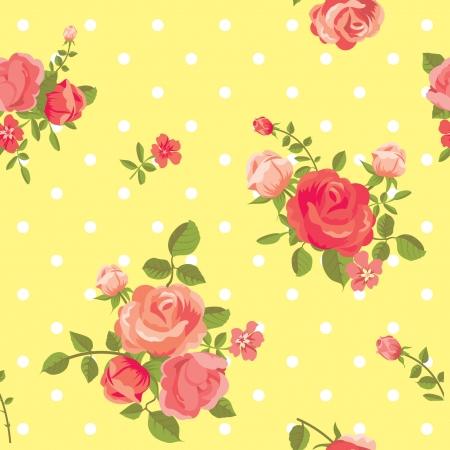 gele rozen: Naadloze vintage floral roos patroon Stock Illustratie