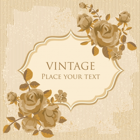 Retro invitation card template with roses Stock Vector - 17970685