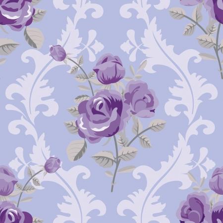 블루 클래식 원활한 장미 무늬