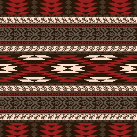ikat: Ethnic traditional native american style textile seamless pattern Illustration