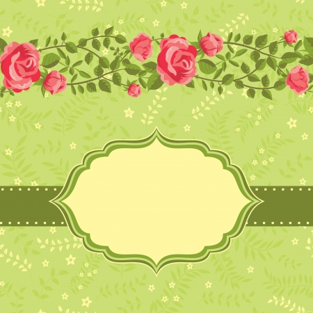 Floral card template roses and place for text Stock Vector - 18218916