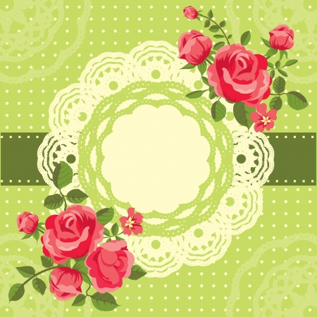 Romantic floral invitation card with blooming roses Stock Vector - 18218947