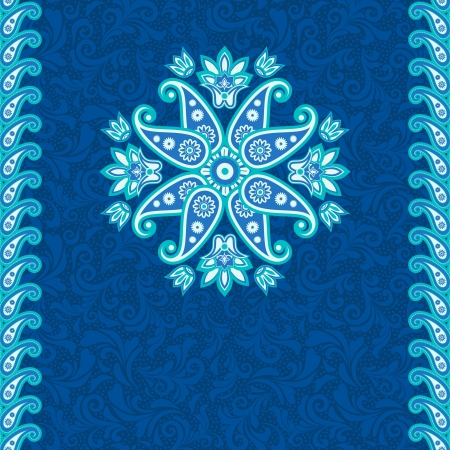 Ornamental ethnic background in blue Vector