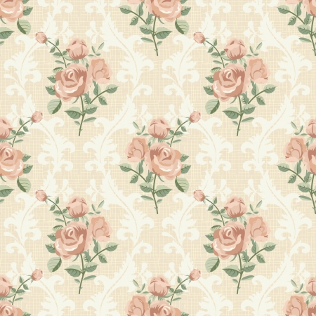 Rose vintage seamless pattern Vector