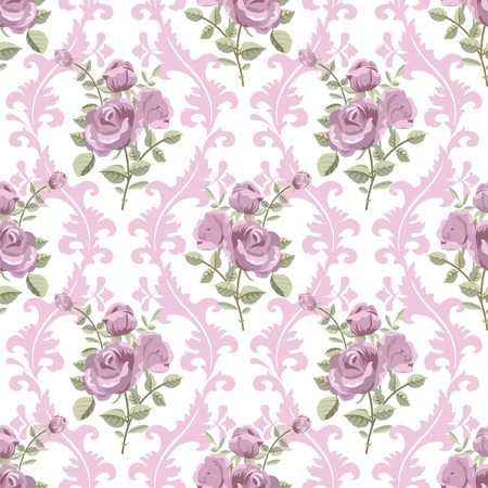 Rose classic wintage seamless wallpaper Illustration