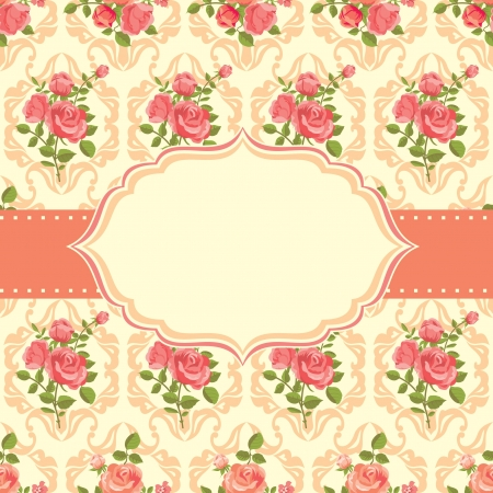 vintage roses: Vintage card romantic background with roses