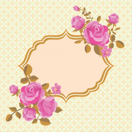 Vintage invitation card with blooming roses Stock Vector - 18218917