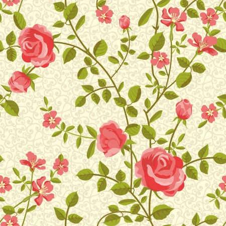 Blooming roses seamless pattern Stock Vector - 18406042
