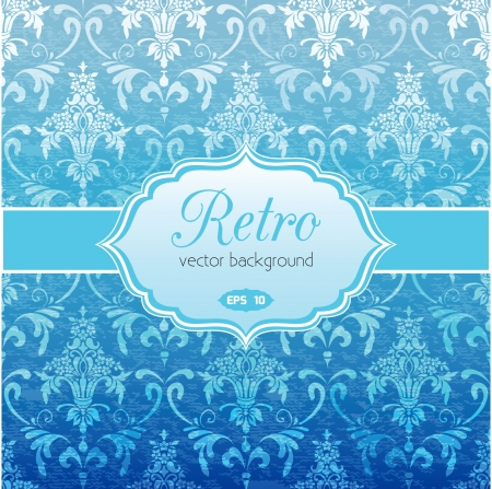 Classic floral vintage background in blue Stock Vector - 18406072