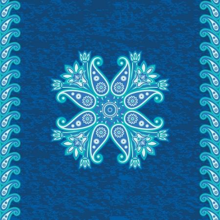 persia: Decorative ethnic flower ornamental background in blue