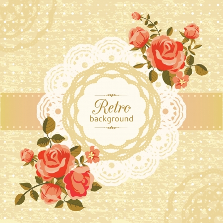 Retro floral card with blooming roses Stock Vector - 18406071