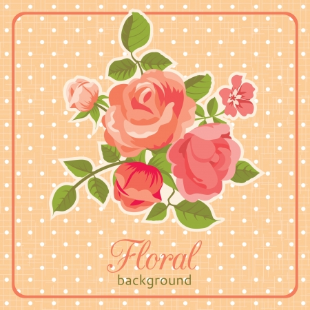 Rose background floral card retro style Stock Vector - 18406039