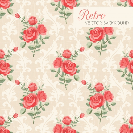 damask seamless: Rose classic seamless floral pattern