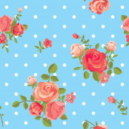 Blooming roses classic dotted seamless pattern Vector