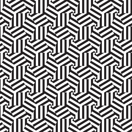 mosaic pattern: Abstract geometric pattern op art in black and white Illustration