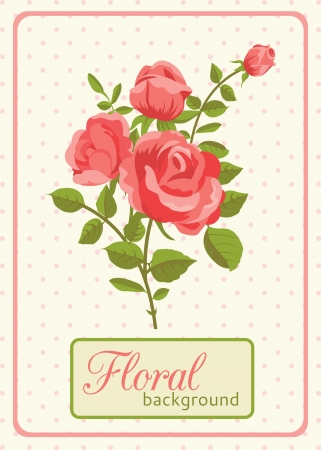 Floral background greeting card with blooming rose Stock Vector - 18756321