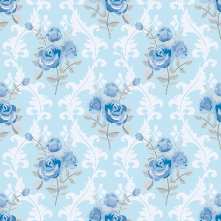 Blue roses floral wallpaper Vector