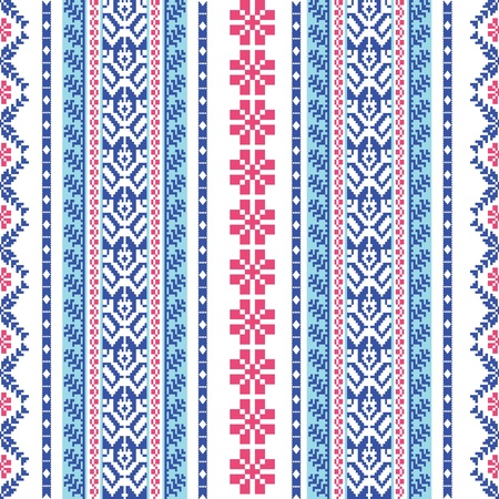 slavic: Embroidered traditional ornamental pattern