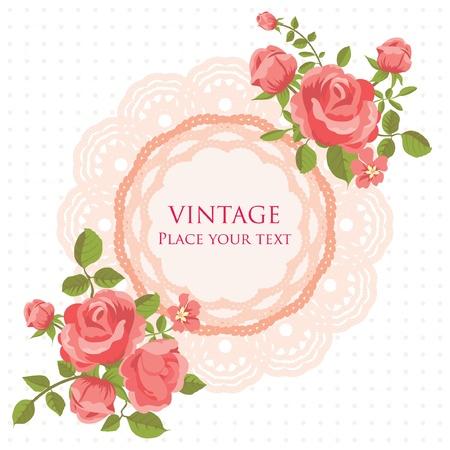 dibujo vintage: Flor tarjeta Vectores