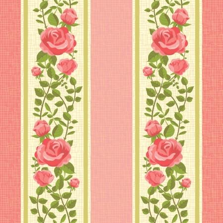Bloem roze gestreept behang