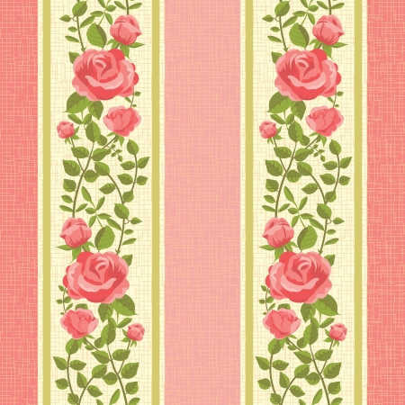 Flower pink striped wallpaper