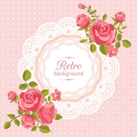 crochet: Pink flower card with roses in retro style