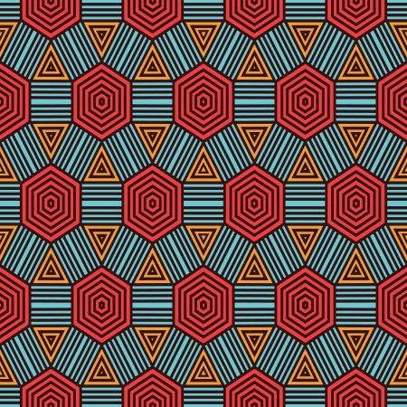 african culture: Retro geometric pattern