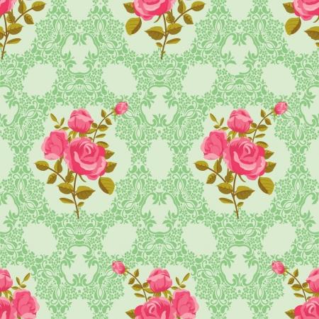 róża: Róża bez szwu ozdobnych tapety Ilustracja