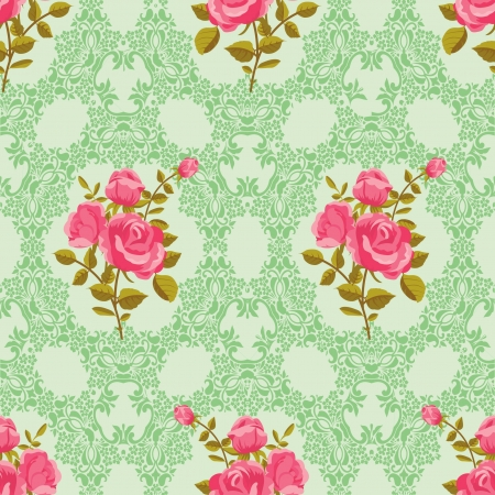 Rose seamless ornamental wallpaper