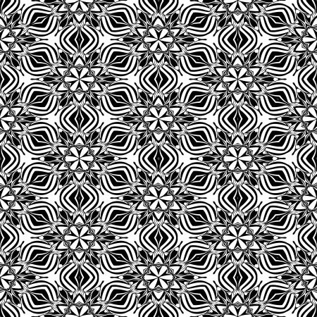 kaleidoscopic: Abstact kaleidoscopic seamless pattern in black and white Illustration