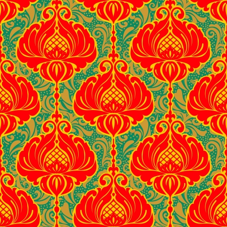 Colorful bright vintage floral ornate background,  seamless pattern Vector