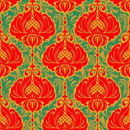 Kleurrijke heldere vintage bloemen versierde achtergrond, naadloos patroon